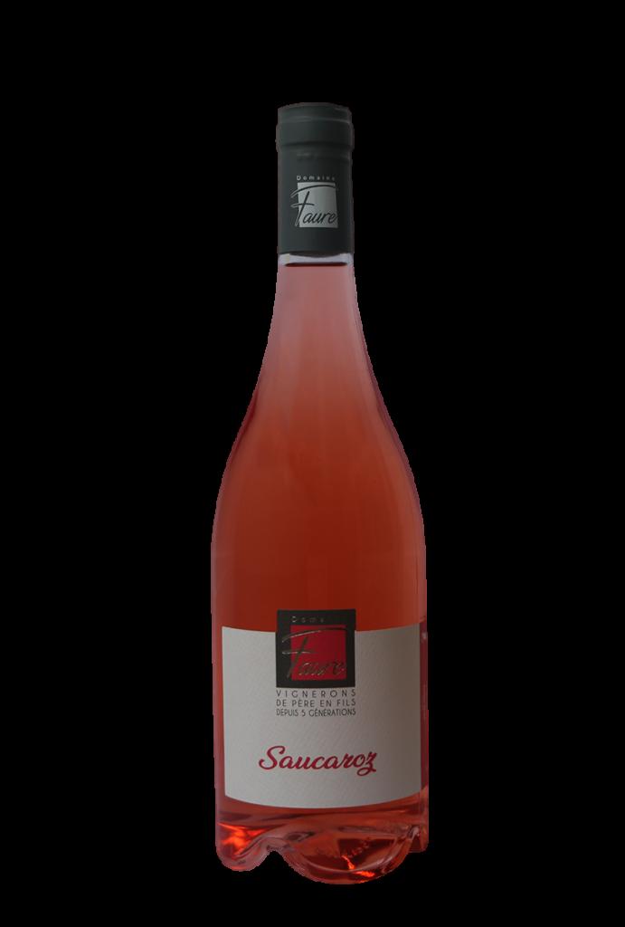 Bouteille de Saucaroz, vin rosé du Domaine Faure